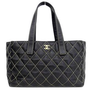 Genuine CHANEL Chanel Wild Stitch Leather Tote Bag Black Gold Hardware 9 Series