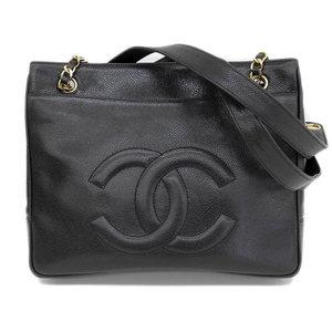 Genuine CHANEL Chanel Caviar Skin Chain Shoulder Tote Bag Black Gold Hardware 2 Series Leather