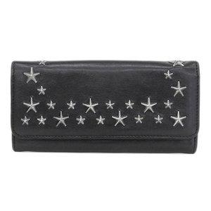 Genuine JIMMY CHOO Jimmy Chu Star Studs Leather Folded Long Purse Black