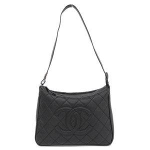 Genuine CHANEL Chanel Lambskin Coco Mark One Shoulder Bag Black 10 Series Leather
