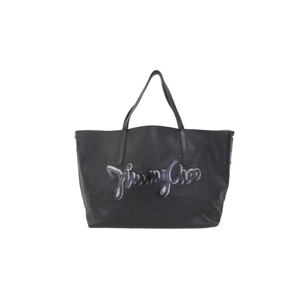 Genuine JIMMY CHOO Jimmy Chew Leather Tote Bag Black