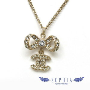 Chanel 14P Ribbon motif Rhinestone necklace 20180919