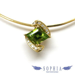 Peridot Omega necklace K18YG 20181017