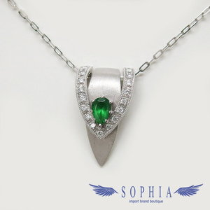 Green garnet K18WG necklace 20181003