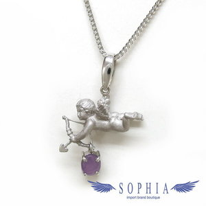 Cupid motif white gold necklace 20181009