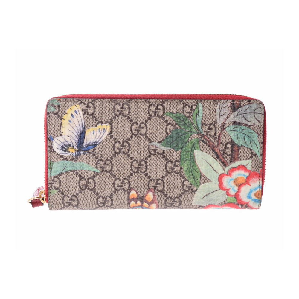 b2c5339d9a1 Gucci round fastener long wallet GG pattern butterfly   flower beige red  women s PVC leather AB rank GUCCI second hand silver storage