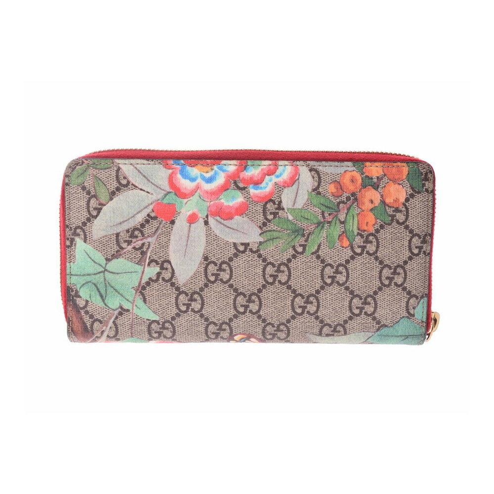 34c1dbb1db9 Gucci round fastener long wallet GG pattern butterfly   flower beige ...