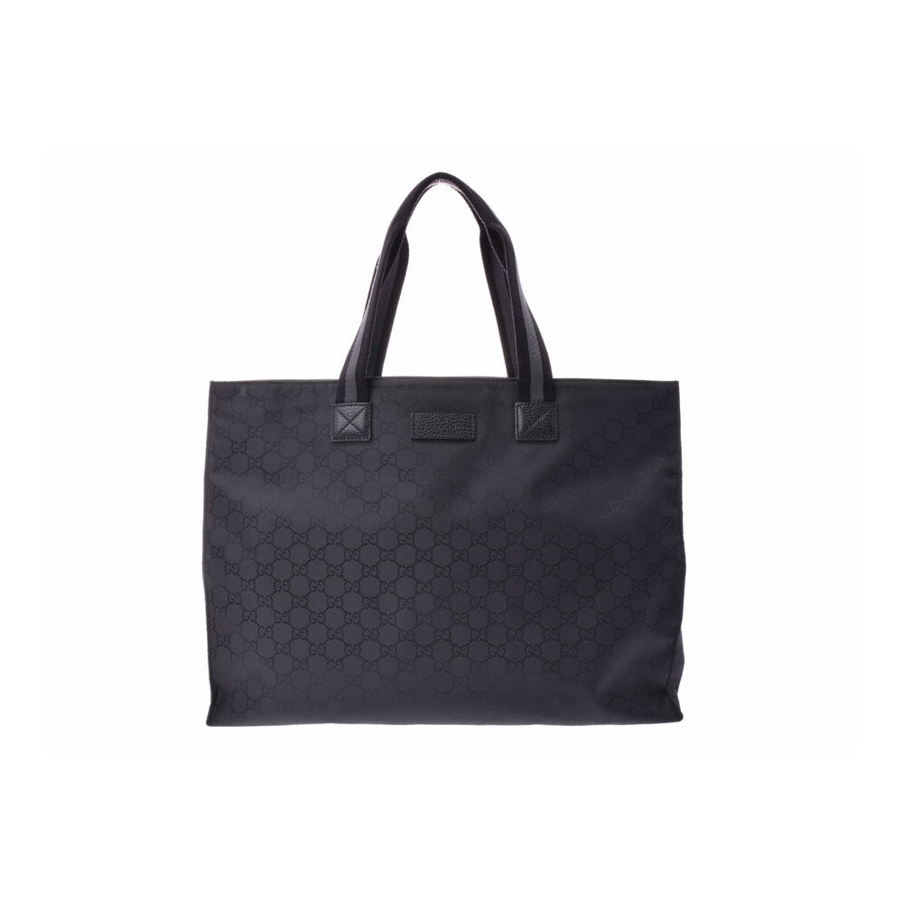 f470345a3 Gucci GG pattern tote bag black men s ladies nylon leather sale item A rank  beautiful goods ...