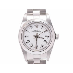 Rolex Perpetual White Dial 76080 A Womens SS Automatic Volume Watch Rank beautiful item ROLEX Galla Used Ginza