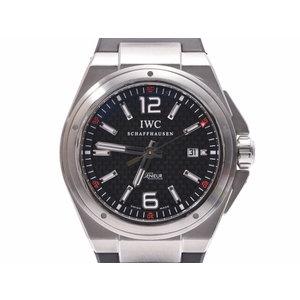 IWC インヂュニア 黒文字盤 裏スケ IW323601 メンズ SS/ラバー 自動巻 腕時計 Aランク 美品 中古 銀蔵