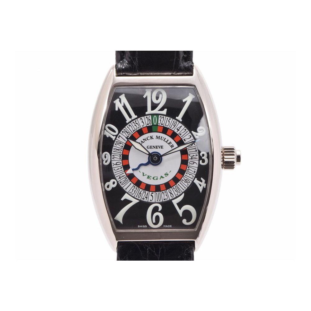 フランクミュラー ヴェガス 黒文字盤 5850VEGAS メンズ WG/革 自動巻 腕時計 Aランク 美品 FRANCK MULLER 箱 ギャラ 中古 銀蔵