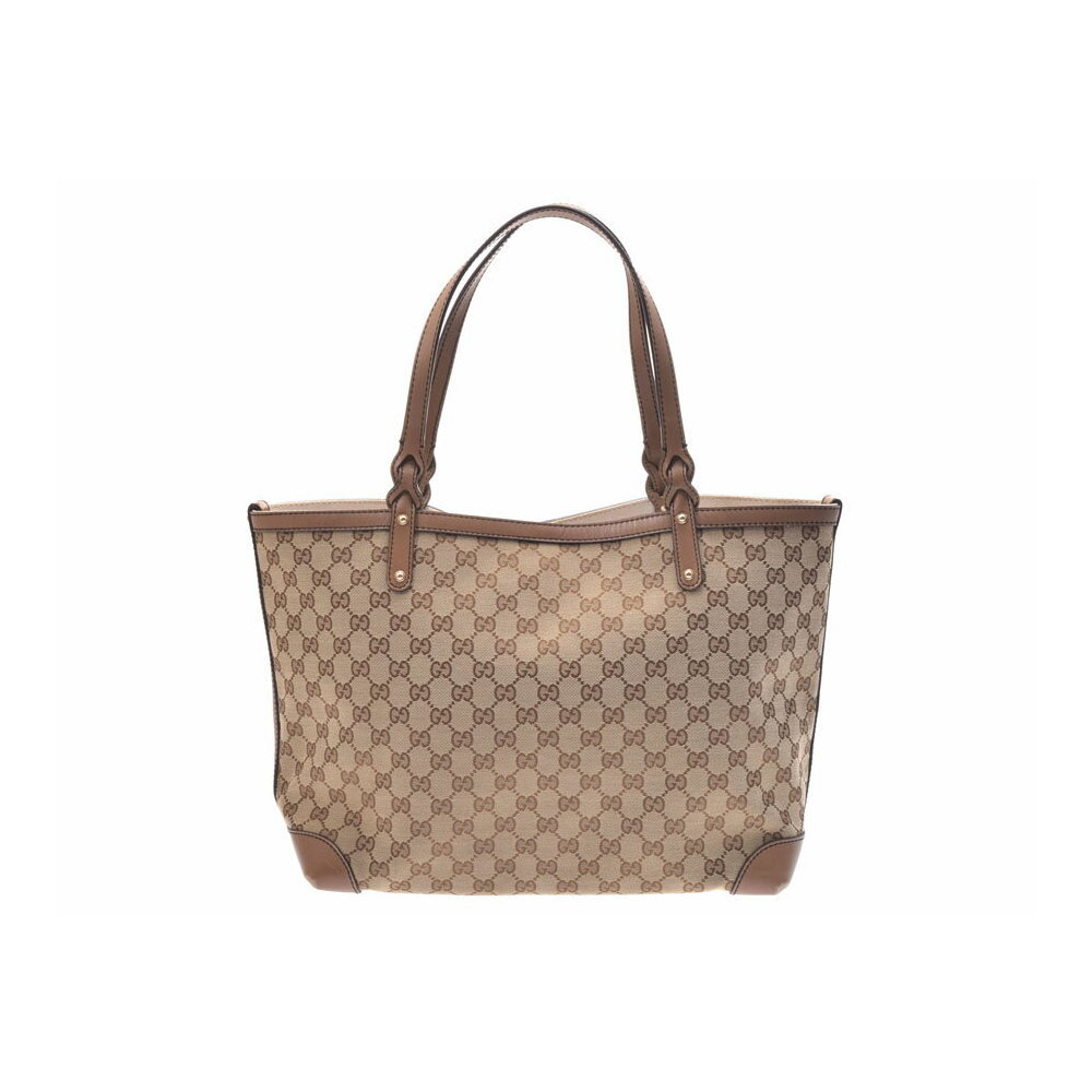 e8998fd54770 Gucci Tote Bag Beige Ladies Men's GG Canvas / Leather B Rank GUCCI with Pouch  Used