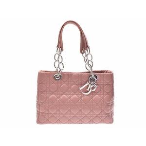 クリスチャン・ディオール(Christian Dior) ディオール ディオールソフト ピンク系 レディース ラムスキン ハンドバッグ ABランク CHRISTIAN DIOR 正規ギャラ 中古 銀蔵