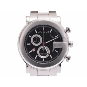 グッチ 101M クロノグラフ 黒文字盤 メンズ SS クオーツ 腕時計 Aランク 美品 GUCCI 中古 銀蔵