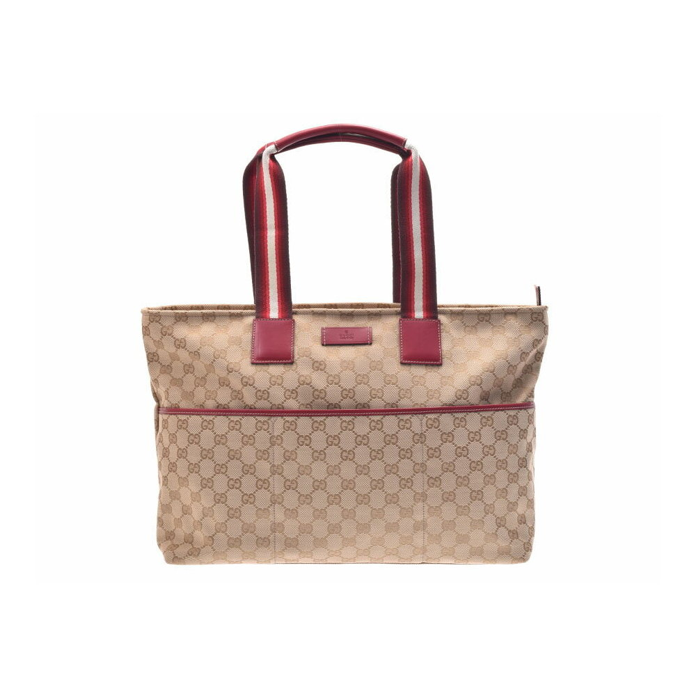 8237e0af1214 Gucci Mothers Bag Beige Type / Red Ladies Men's GG Canvas Tote A Rank  beautiful item