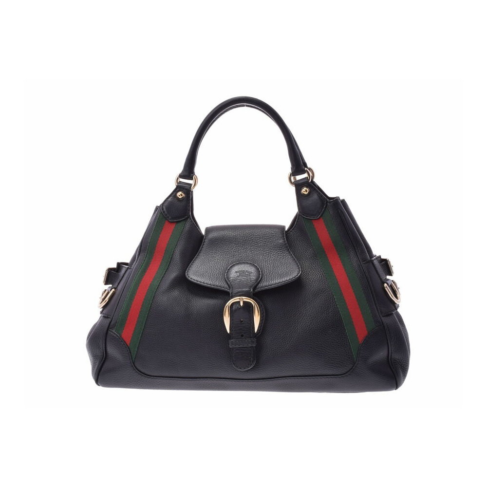 23a0690647a Gucci sherry line handbag black ladies leather B rank GUCCI second hand  silver storage