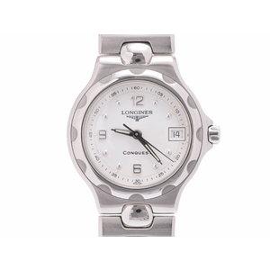 ロンジン コンクエスト 白文字盤 L1.131.4 レディース SS クオーツ 腕時計 Aランク 美品 LONGINES 中古 銀蔵