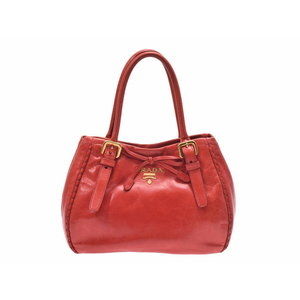 Prada 2WAY handbag red BN 1867 women's leather PRADA strap attaching second hand silver storage