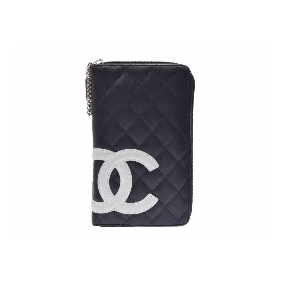 5a75b70817f5 シャネル(Chanel) シャネル カンボンライン ラウンドファスナー長財布 黒/白 レディース ラムスキン AB