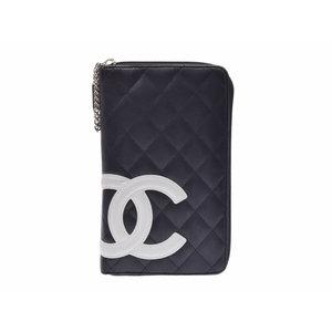6e8d1d7f561a Chanel Cambon Line Round Zipper Long Purse Black / White Ladies Lambskin AB  Rank CHANEL Box