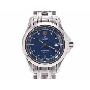 Omega Seamaster 120m Navy Dial Women's SS Quartz Wrist Watch A rank 美 品 OMEGA second hand silver storage