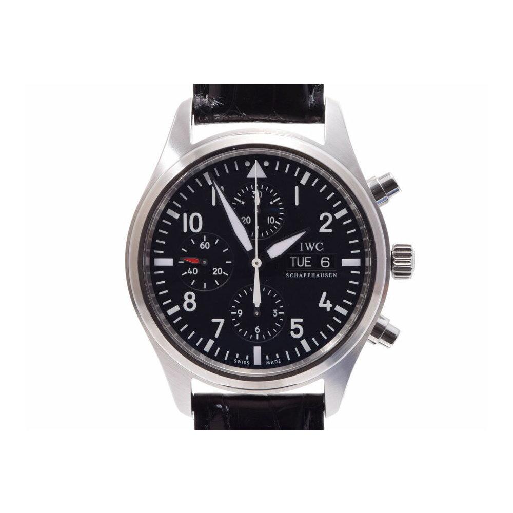 IWC パイロットウォッチ クロノ 黒文字盤 IW371701 生産終了 メンズ SS/革 自動巻 腕時計 Aランク 美品 ギャラ 中古 銀蔵