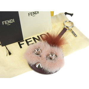 FENDI Fendi Mink Fur Coolibri Monster Bag Charm Mirror Key Holder Multi Color Used [20181018]