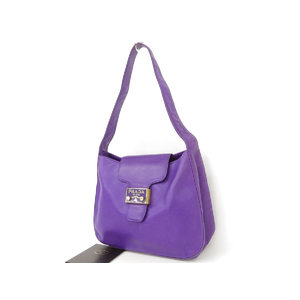 PRADA Prada Lambskin One Shoulder Bag Hand Nappa Leather Purple Used [20181026b]
