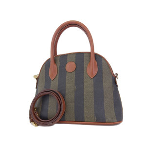 FENDI Fendi Pecan Coating Canvas Vintage Handbag Shoulder 2 Way Used [20181026a]