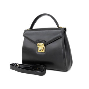Salvatore Ferragamo Gold Hardware Vintage Handbag Shoulder 2 Way Black Used [20181026b]
