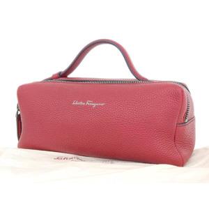 Salvatore Ferragamo Dopp Kit Second Bag Travel Pouch Leather Red Clutch [20180531]