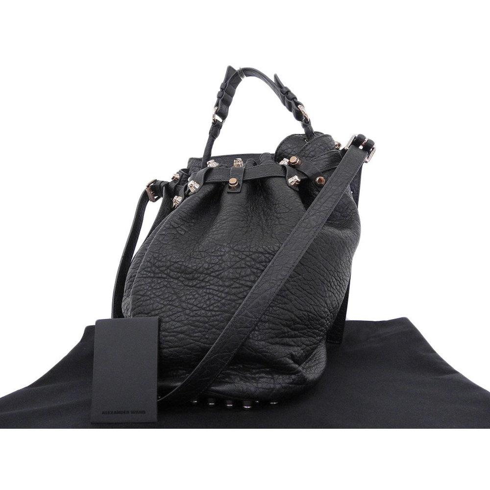 Alexander One Studded Leather Shoulder Bag Black Pink Gold Hardware Used 20181018