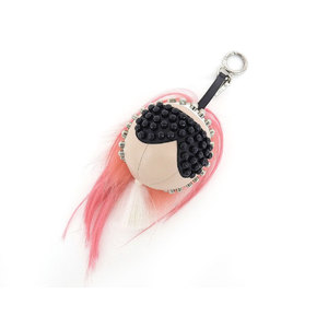 FENDI Fendi Karl Lagerfeld pink fur bag Charm Monster Studs Multi Color Used [20181031]
