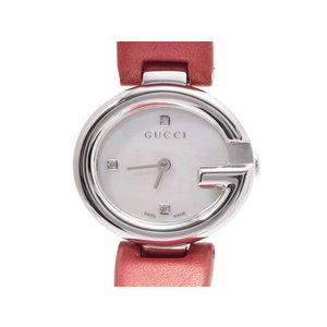 グッチ 134.5 シェル文字盤 レディース SS/革 3Pダイヤ クオーツ 腕時計 GUCCI 中古 銀蔵