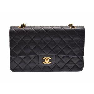 Chanel Matrasse Chain Shoulder Bag 25 cm Black GP Hardware Women's Lambskin Double Flap CHANEL Galler Used Ginza