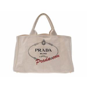 Prada Kanapa White B 1872 W Ladies Men's Canvas Tote Bag AB Rank PRADA Sky Gala Used Ginza