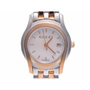 グッチ 5500L シェル文字盤 レディース GP/SS クォーツ腕時計 ABランク GUCCI 中古 銀蔵