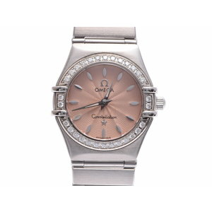 Omega Constellation Pink Guilloche Dial 1466.62 Women's SS Quartz Wrist Watch A rank 美 品 OMEGA Box Gala Used Ginza