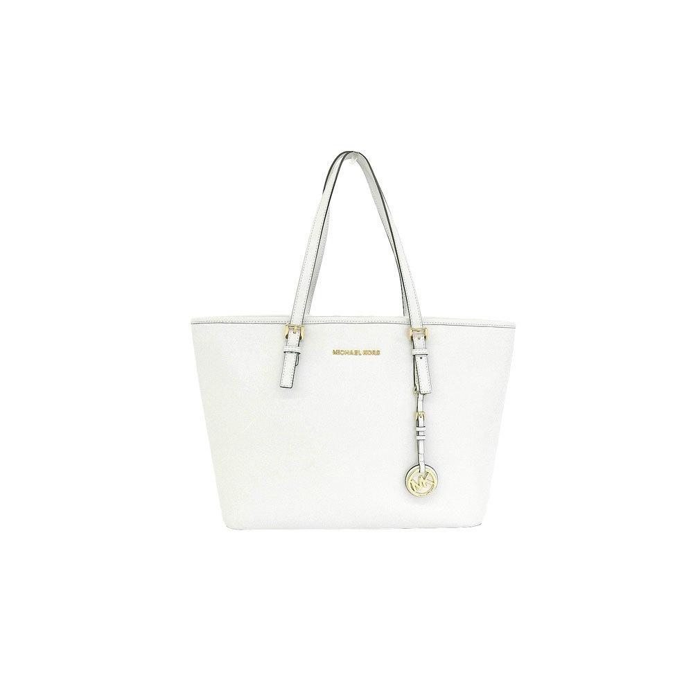 997ee2d09f33 Genuine MICHAEL KORS Michael Kors PVC Tote Bag White Gold Hardware Leather