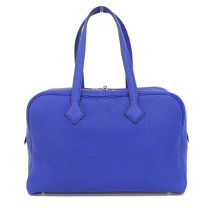 Real HERMES Victoria Leather Boston Blue X Engraved Bag