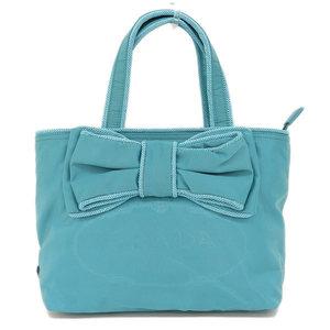 Genuine PRADA Prada Nylon Ribbon 2way Tote Bag Shoulder Blue Leather
