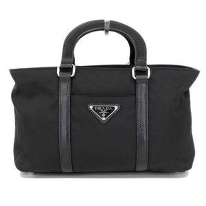 Genuine PRADA Prada Tesut Nylon 2 WAY Handbag Shoulder Black Bag Leather