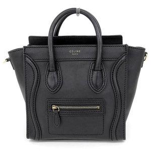 5882127cef Genuine CELINE Celine Leather Luggage Nano Shopper 2way Handbag Shoulder  Black 168243 HNA Bag
