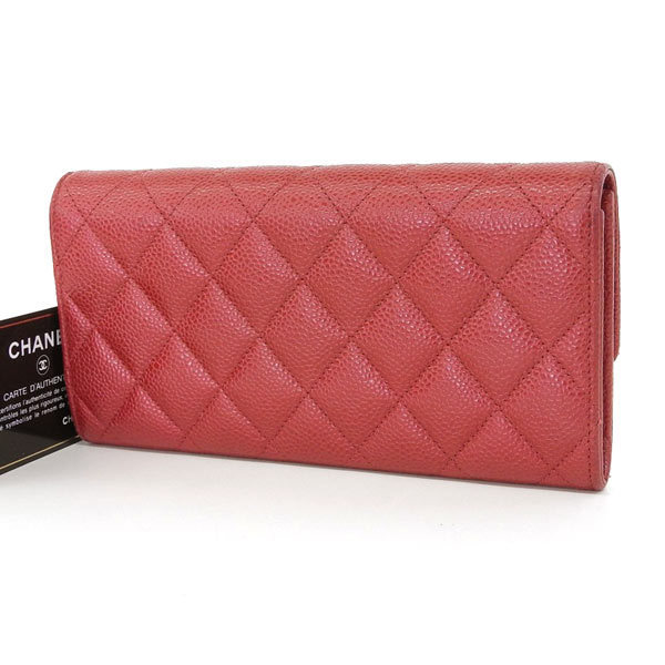 a08abf39cff3 Details about Auth Genuine CHANEL Chanel Coco Mark Caviar Skin Folded Purse  Red 20th Series Wa