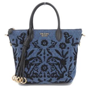 Genuine PRADA Prada Denim Employ Dairy 2 Way Bag Shoulder Blue × Black Leather