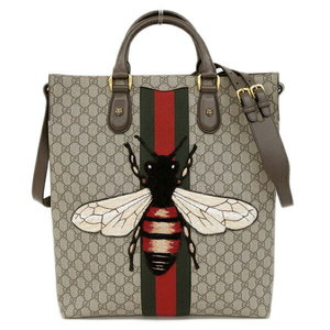 Genuine GUCCI Gucci Web Animarie PVC 2 WAY Tote Bag Shoulder Be Leather
