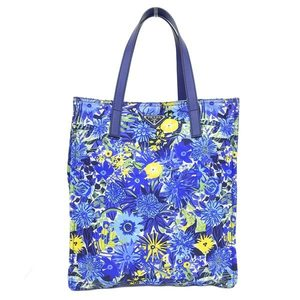 Genuine PRADA Prada Nylon Tote Bag Floral Pattern Blue Leather