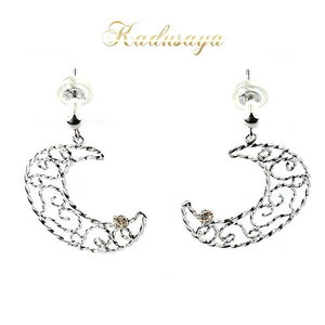K14WG cute crescent design earrings / brand new purchase storefront display item