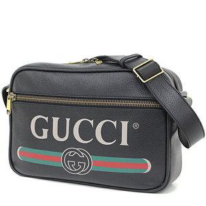 Gucci GUCCI print messenger pack leather black 523589 diagonal shoulder bag unused item