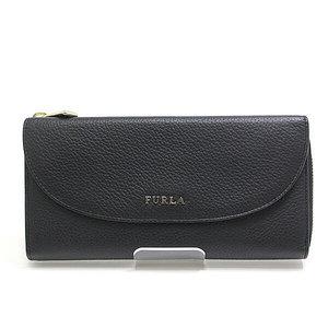 FURLA Furla L character zipper flap pocket wallet 850870 black unused item